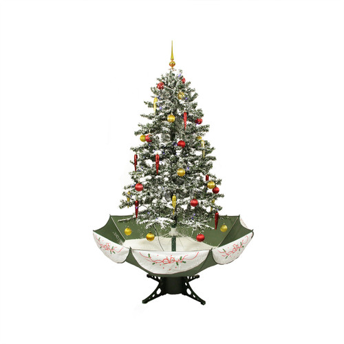 5.5' Pre-Lit Medium Musical Snowing Artificial Christmas Tree with Umbrella Base - Blue LED Lights - IMAGE 1