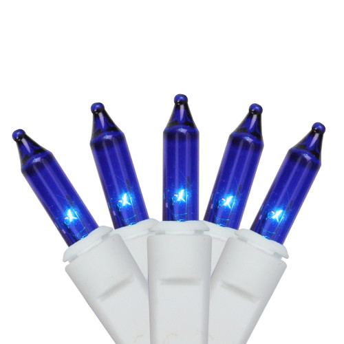 100-Count Blue Mini Icicle Incandescent Christmas Light Set, 5.75ft White Wire - IMAGE 1