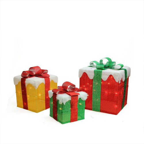 Set of 3 Lighted Gold, Green and Red Gift Boxes Christmas Outdoor Decorations - IMAGE 1