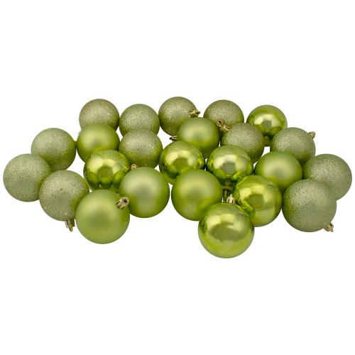 "24ct Green Shatterproof 4-Finish Christmas Ball Ornaments 2.5"" (60mm) - IMAGE 1"