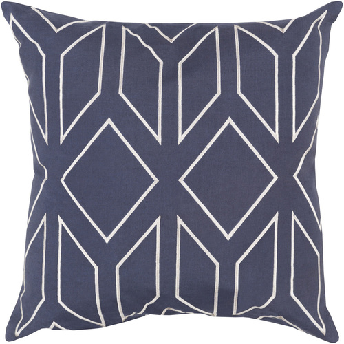 """18"""" Blue and Gray Contemporary Square Throw Pillow - IMAGE 1"""