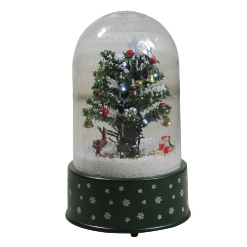 "11.75"" Pre-Lit Musical and Animated Christmas Tree Snow Globe Glittering Snow Dome - IMAGE 1"