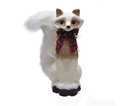 """13.5"""" White and Brown Fox with Bow Christmas Tabletop Decor - IMAGE 1"""