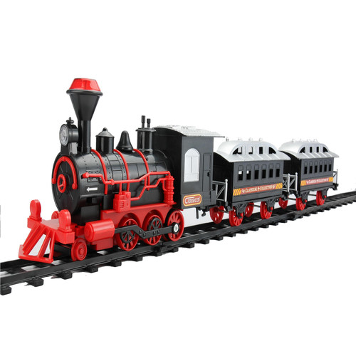 13-Piece Red and Black Battery Operated Lighted and Animated Train Set with Sound - IMAGE 1