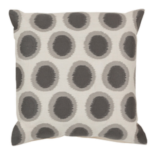 "20"" Cream White and Smoke Gray Contemporary Square Throw Pillow - Down Filler - IMAGE 1"