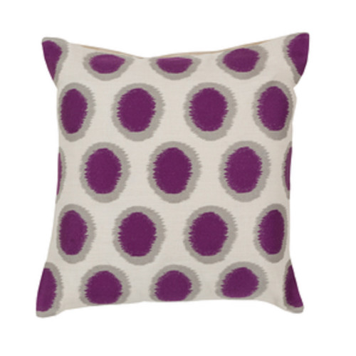"""20"""" Orchid Purple and Whisper White Contemporary Square Throw Pillow - Down Filler - IMAGE 1"""