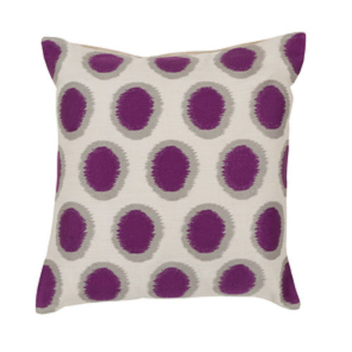 "20"" Orchid Purple and Whisper White Contemporary Square Throw Pillow - IMAGE 1"