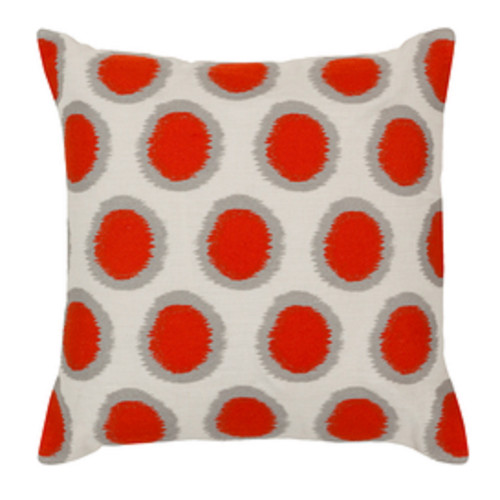 "20"" Blood Orange and Cream White Contemporary Square Throw Pillow - Down Filler - IMAGE 1"