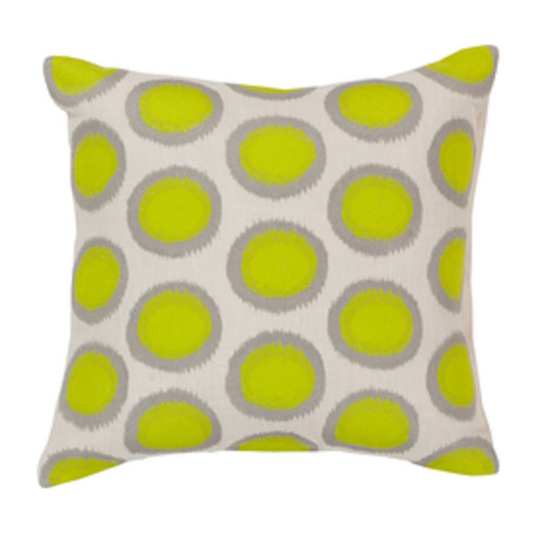 "20"" Lime Green and Whisper White Contemporary Square Throw Pillow - Down Filler - IMAGE 1"