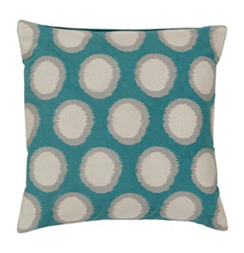 """20"""" Cyan Blue and Ash Gray Contemporary Square Throw Pillow - IMAGE 1"""