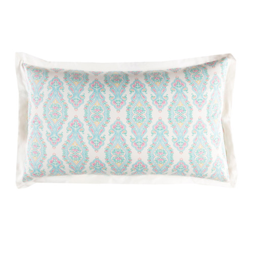 """20"""" x 36"""" White, Blue and Pink Modern Style Handmade Cotton Sateen King Sham - IMAGE 1"""