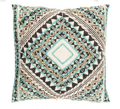 """20"""" Green and Black Diamond Hand Embroidered Throw Pillow - IMAGE 1"""
