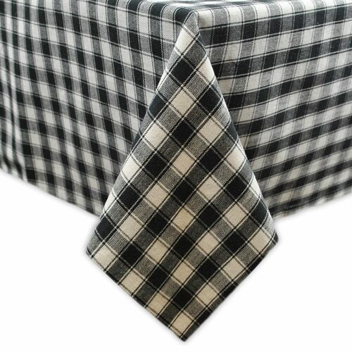"Black and White Square Checkered Cotton Tablecloth 52"" x 52"" - IMAGE 1"