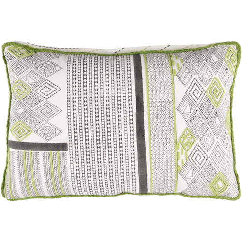 "19"" Lime Green and Frost White Decorative Rectangular Throw Pillow - Down Filler - IMAGE 1"