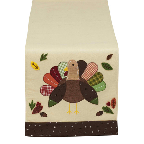 """64"""" Beige and Brown Festive Patchwork Turkey Decorative Thanksgiving Table Runner - IMAGE 1"""