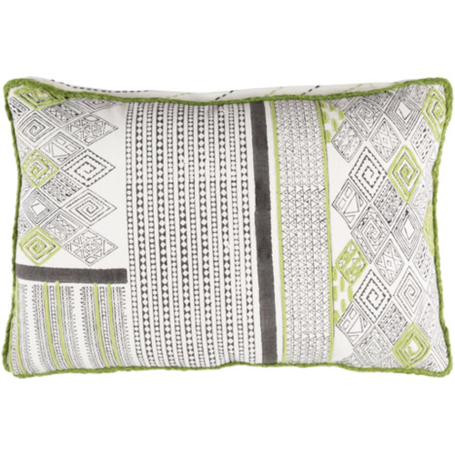 "19"" Lime Green and Frost White Decorative Rectangular Throw Pillow - IMAGE 1"