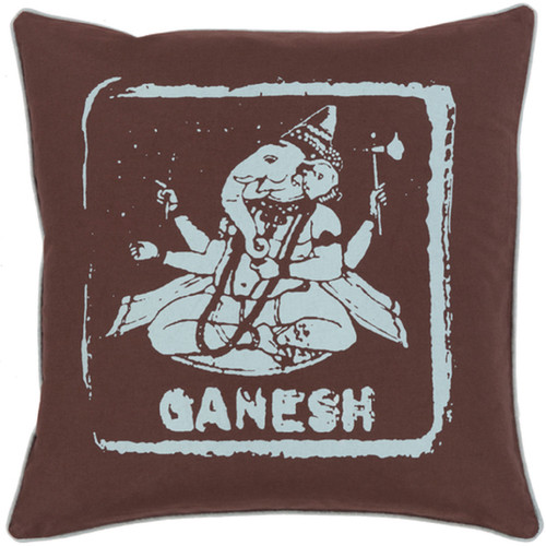 """20"""" Espresso Brown and Icy Blue """"GANESH"""" Throw Pillow - Down Filler - IMAGE 1"""