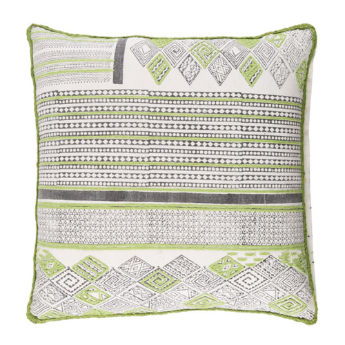 """20"""" Lime Green and White Embroidered Square Throw Pillow - Down Filler - IMAGE 1"""