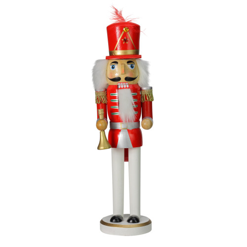 """14"""" Red and White Wooden Christmas Nutcracker with Horn - IMAGE 1"""