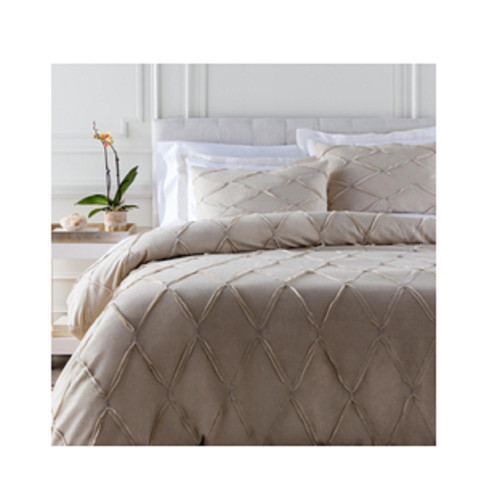 Set of 3 Beige and Silver Contemporary Style Handmade King/California King Bedding Set 9' x 7.5' - IMAGE 1