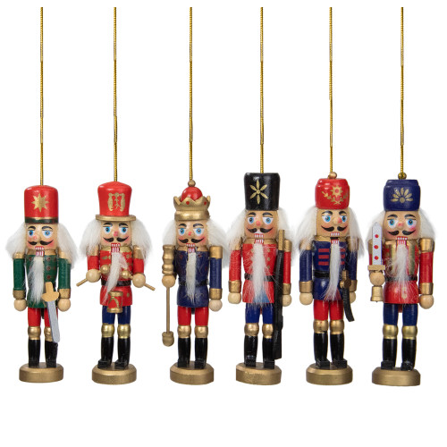6-Count Red and Blue Classic Nutcracker Christmas Ornaments - 5.25 Inches - IMAGE 1