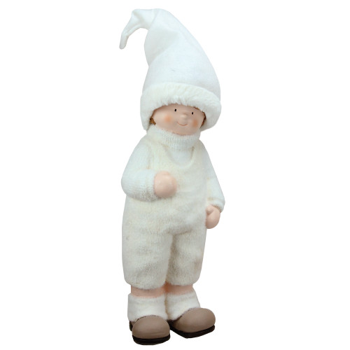 """19"""" White and Beige Winter Boy with Tall Hat Christmas Table Top Figure - IMAGE 1"""