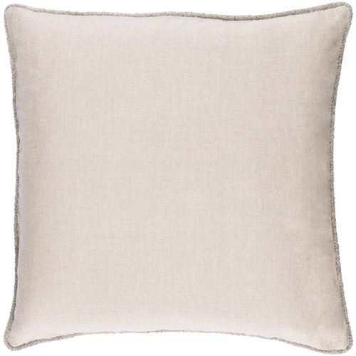 """18"""" Wheat Brown Elegant Rose Blossom Decorative Linen Plain Throw Pillow - Poly Filled - IMAGE 1"""