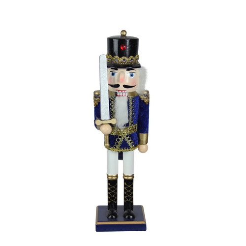 """14"""" Blue and White Christmas Nutcracker Soldier with Sword Tabletop Decor - IMAGE 1"""