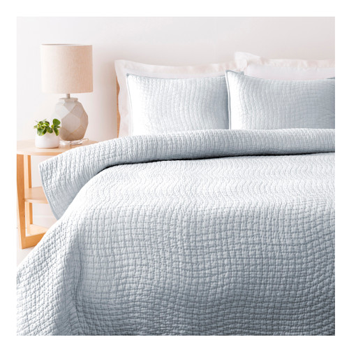 Sweet Dreams Handsomely Woven Light Metal Gray Cotton and Silk King Size Quilt - IMAGE 1