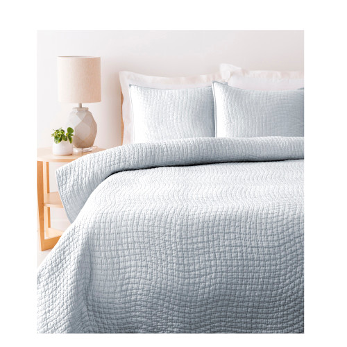 Sweet Dreams Handsomely Woven Light Metal Gray Cotton and Silk Twin Size Quilt - IMAGE 1