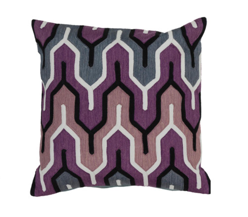 """22"""" Purple and Gray Geometric Square Throw Pillow Cover - IMAGE 1"""