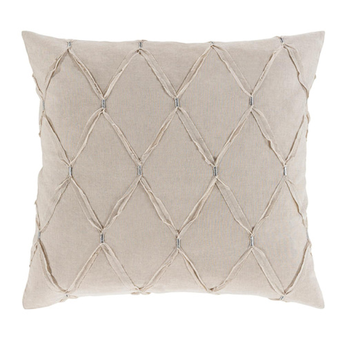 "Set of 2 Beige and and Siver Contemporary Euro Sham - Poly Filled 26"" x 26"" - IMAGE 1"