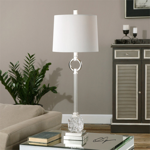 "34"" White Nickel Buffet Lamp with Ivory Linen Fabric Shade - IMAGE 1"
