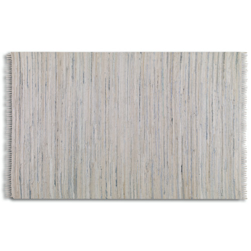 5' x 8' Winston Hand Woven Off White and Blue Rescued Denim Fringed Area Throw Rug - IMAGE 1