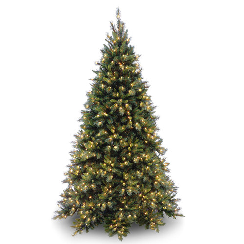 7.5 ft. Tiffany Fir Medium Tree with Clear Lights - IMAGE 1