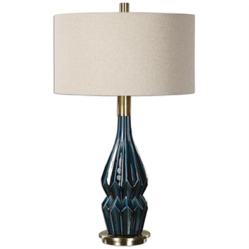 """32"""" Blue Glazed Table Lamp with Hardback Shade - IMAGE 1"""
