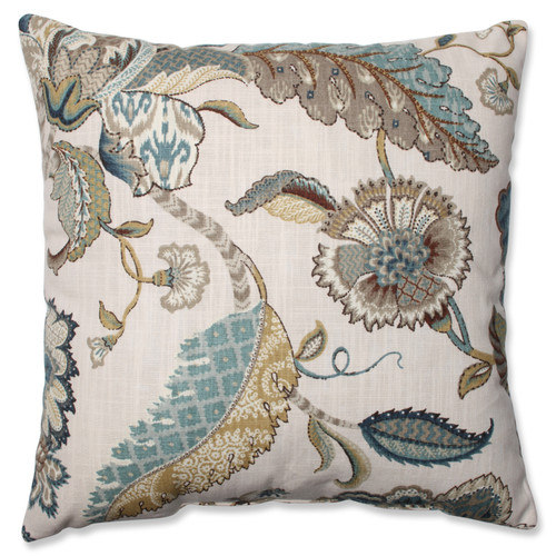 """16.5"""" Blue and Beige Floral Square Throw Pillow - IMAGE 1"""