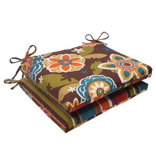 """Set of 2 Tahitian Chocolate Outdoor Reversible Squared Seat Cushions 18.5"""" - IMAGE 1"""