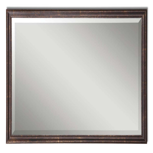 """32"""" Distressed Bronze and Gold Wood Framed Beveled Rectangular Wall Mirror - IMAGE 1"""