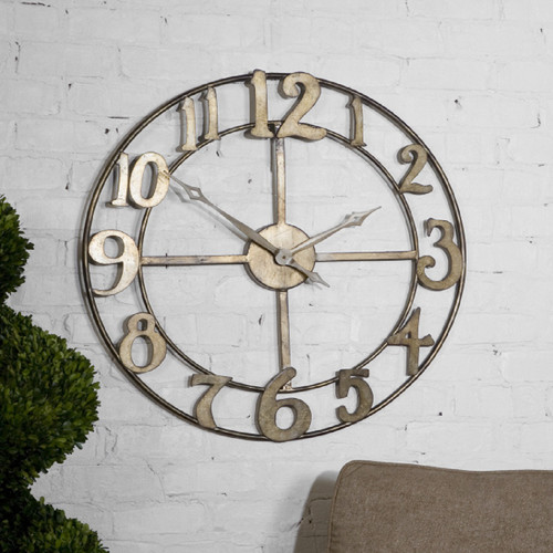 """32"""" Bronze and Gold Round Metal Wall Clock - IMAGE 1"""