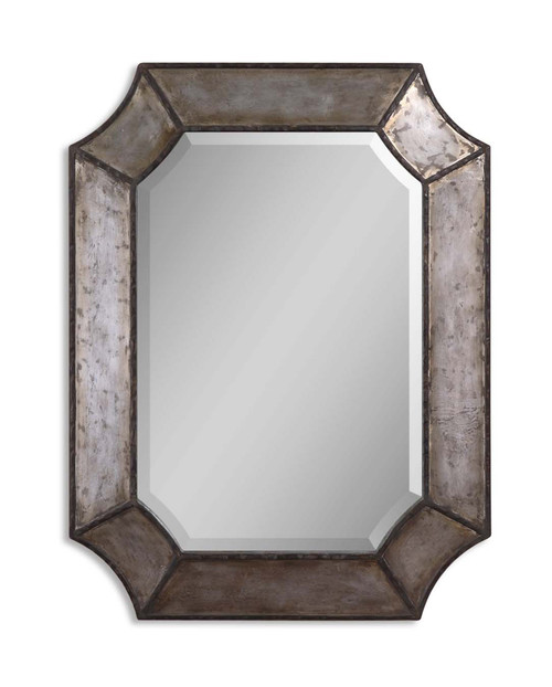 """32"""" Distressed Aluminum and Bronze Framed Beveled Octagonal Wall Mirror - IMAGE 1"""