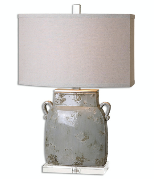 """25.25"""" Naples Textured Ceramic Ivory-Gray Table Lamp with Beige Linen Oval Shade - IMAGE 1"""