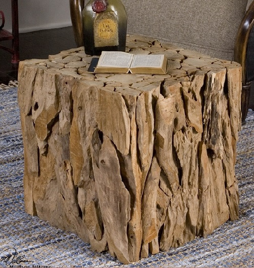 """18.5"""" Eco-Friendly Natural Teak Root Bunching Cube Accent Table - IMAGE 1"""