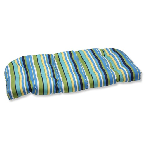 "44"" Blue and Green Striped Outdoor Patio Tufted Wicker Loveseat Cushion - IMAGE 1"