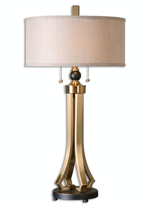 """32.75"""" Modern Brushed Brass and Oil Rubbed Bronze Table Lamp with Linen Drum Shade - IMAGE 1"""
