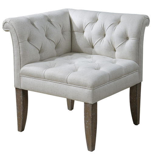 """31"""" White and Brown Leksi Ecru Button Tufted Linen and Distressed Wood Corner Chair - IMAGE 1"""