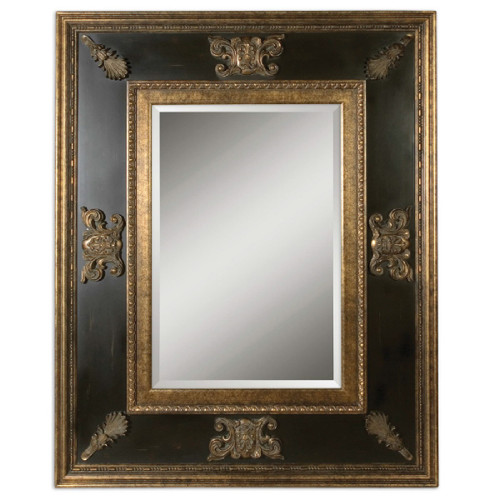 5' Gold and Black Antique-Style-Framed Beveled Rectangular Wall Mirror - IMAGE 1