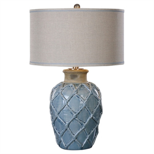 "30"" White and Blue Weave Table Lamp with Hardback Shade - IMAGE 1"