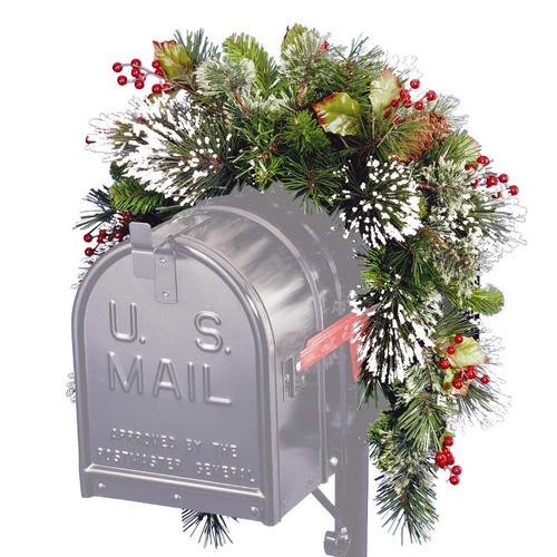 3' Pine Cones, Berries and Snow Artificial Christmas Mailbox Swag - Unlit - IMAGE 1