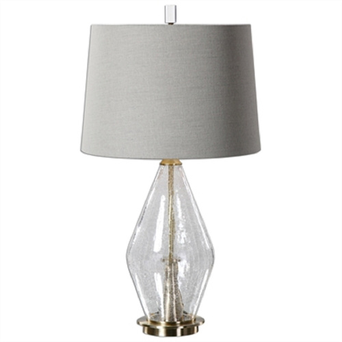 """29"""" White and Silver Crackled Glass Table Lamp with Hardback Shade - IMAGE 1"""